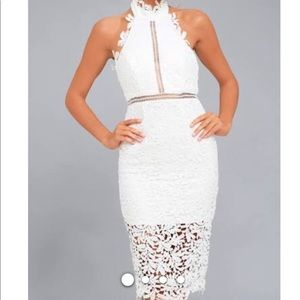 White lace midi halter dress
